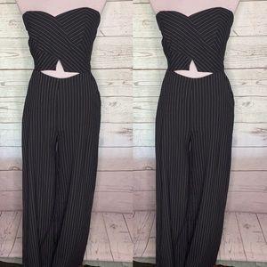 A'gaci black striped cut out wide leg jumpsuit m